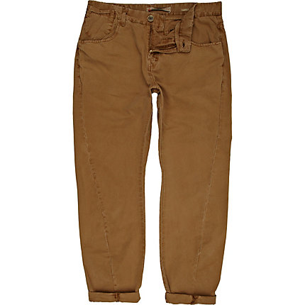 Brown twist seam carrot trousers