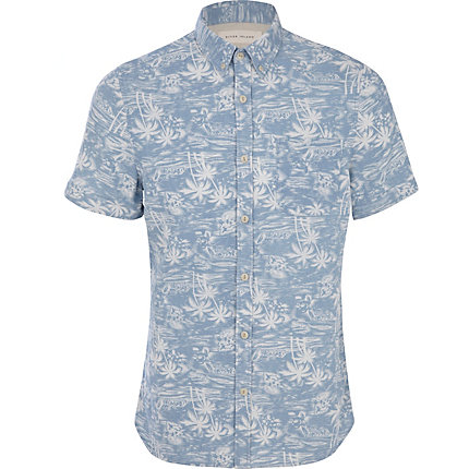 Blue tropical print shirt