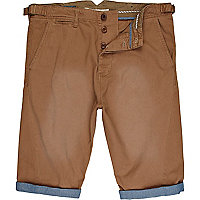 Brown chambray turn up shorts