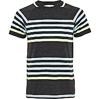 Dark grey stripe raglan t-shirt