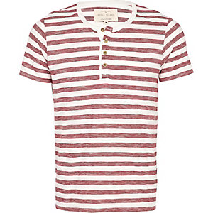 Dark red stripe grandad t-shirt