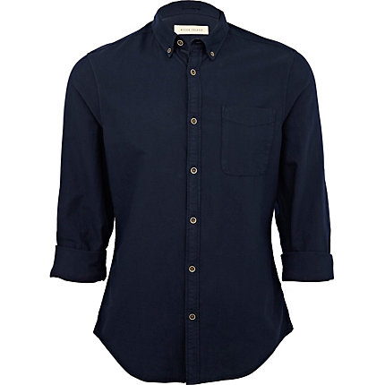 Navy roll sleeve shirt
