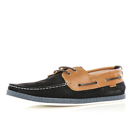 Navy contrast boat shoes