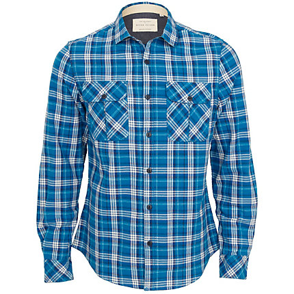 Bright blue check shirt