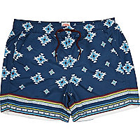 Blue navajo print swim shorts