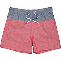 Blue and red chambray sun shorts