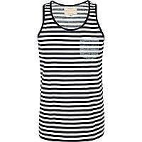 Navy stripe pocket vest