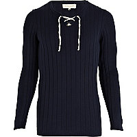 Navy lace neck jumper