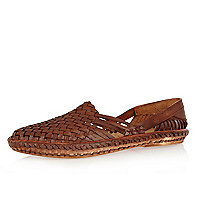 Brown woven slip on shoes