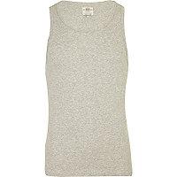 Grey marl rib vest