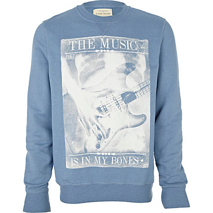 Blue music in my bones print sweatshirt