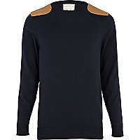 Navy shoulder patch jumper