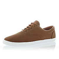 Brown lace up plimsolls