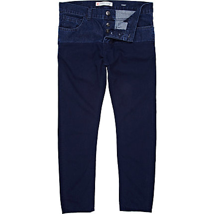 Blue split contrast trousers