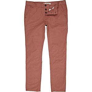 Rose pink twill skinny pants