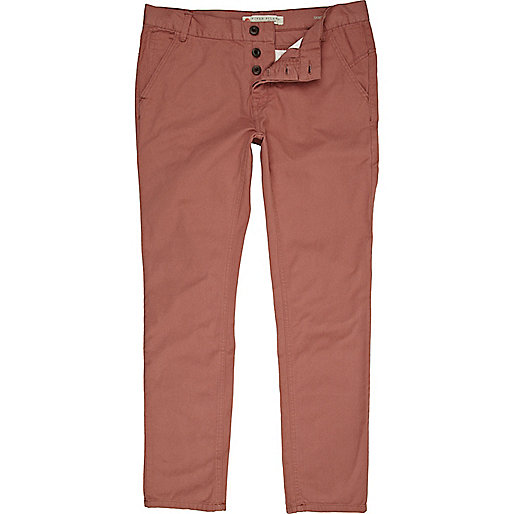 Rose pink twill skinny trousers