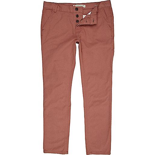 Rose pink twill skinny pants