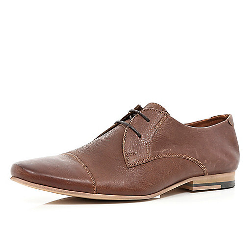 Brown round toe lace up formal shoes