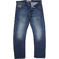 Blue mid wash dean straight jeans