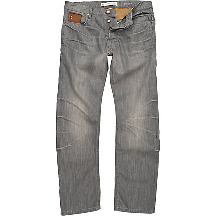 Grey denim dean straight jeans