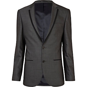Grey contrast slim suit jacket