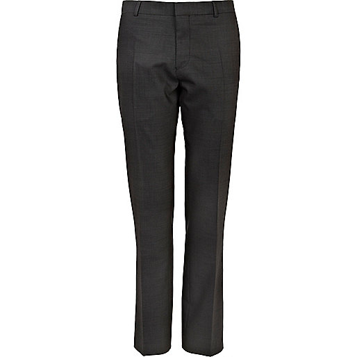 Grey contrast slim suit trousers