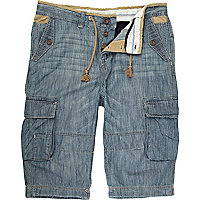 Blue denim cargo shorts