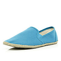Bright blue slip on espadrilles