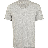 Grey marl low scoop neck t-shirt