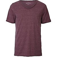 Burgundy marl low scoop neck t-shirt
