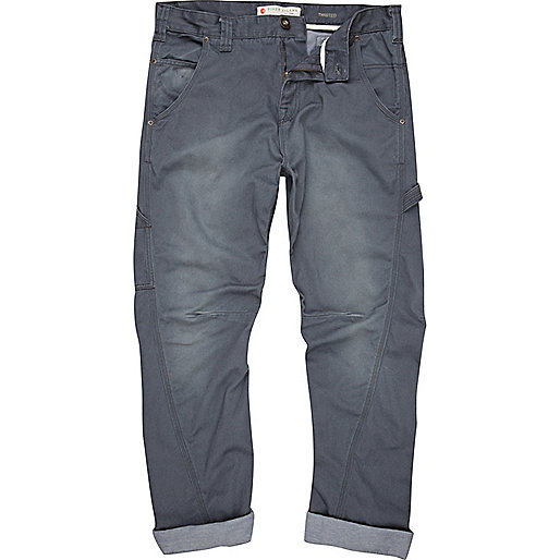 Blue carpenter twist seam trousers