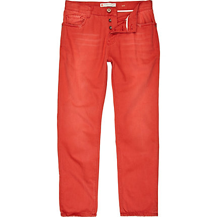 Red wash slim trousers