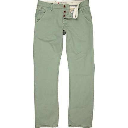 Green slim trousers
