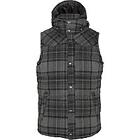 Grey check padded hooded gilet