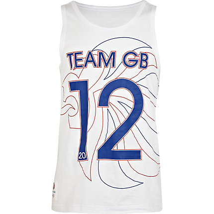 White team GB print vest