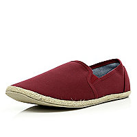 Dark red slip on espadrilles