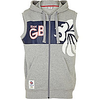 Grey print team GB sleeveless hoodie