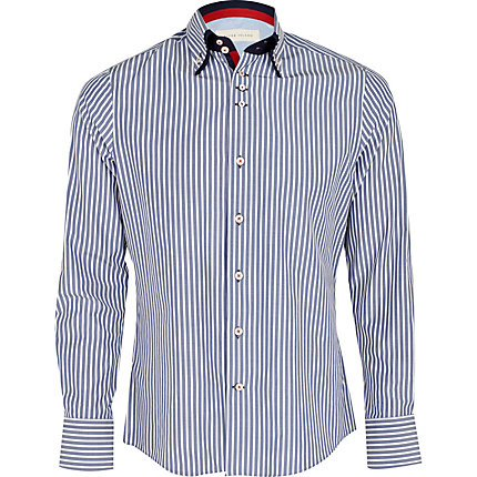 Blue stripe double collar shirt