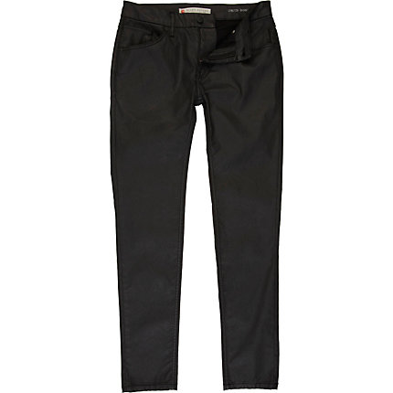 Black coated stretch skinny sid jeans