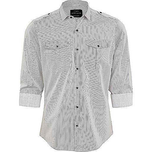 White stripe mini collar military shirt