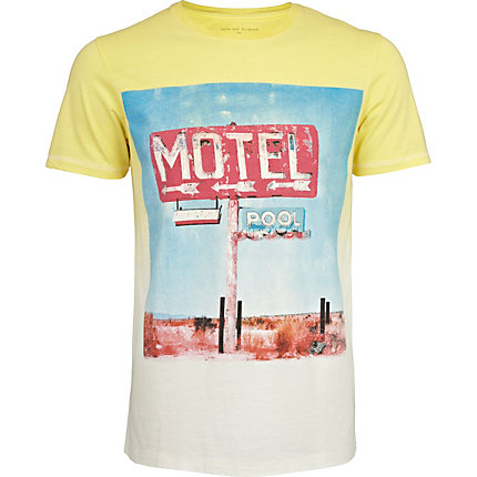 Ecru and yellow motel pool dip dye t-shirt
