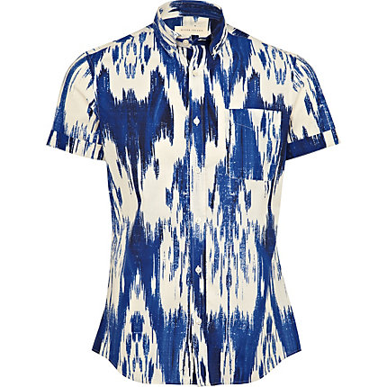 Blue brush print shirt