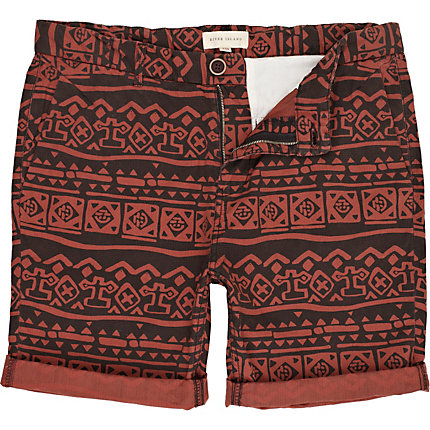 Rust tribal print shorts