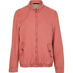 Red washed denim zip up jacket