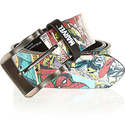 Red marvel print belt