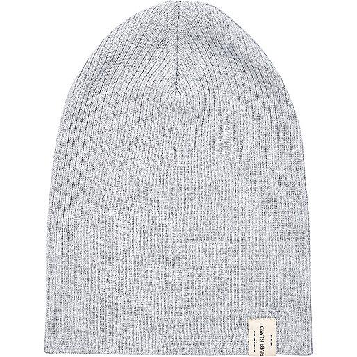 Grey knit beanie hat
