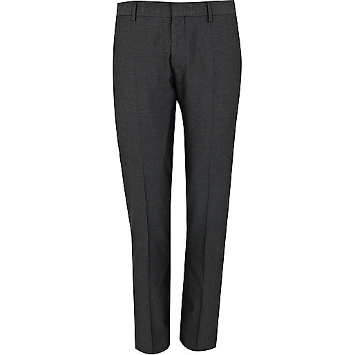 Charcoal grey slim suit trousers