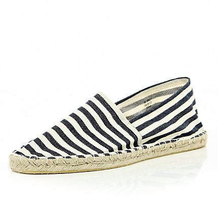Blue oxford stripe espadrilles
