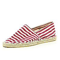 Red stripe espadrilles