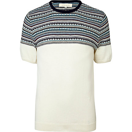 Ecru aztec short sleeve jumper